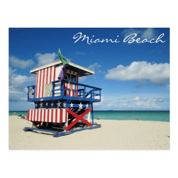 Beach Themed Miami Beach Florida Guard Tower Postcard