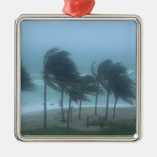 Miami Beach, Florida, hurricane winds lashing Metal Ornament