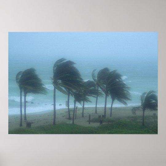 Miami Beach, Florida, hurricane winds lashing Poster