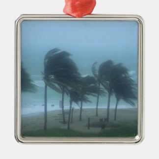 Miami Beach, Florida, hurricane winds lashing Square Metal Christmas Ornament