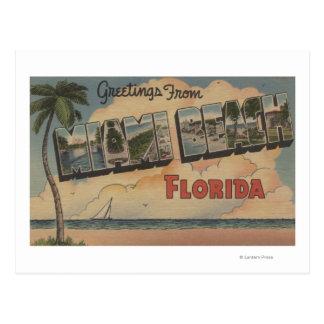 Miami Beach, Florida - Large Letter Scenes Postcard