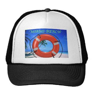 MIAMI BEACH FLORIDA ORANGE LIFE RING TRUCKER HAT
