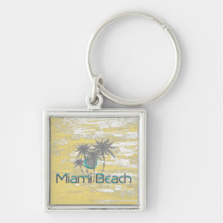 Miami-Beach, Florida,Palms, Grunge Cool Keychain