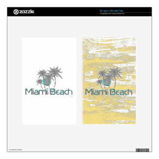 Miami-Beach, Florida,Palms, Grunge Cool Skins For Kindle Fire