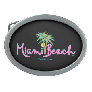 Miami Beach, Florida Pink Cool Oval Belt Buckle