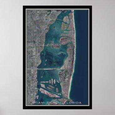 Miami Beach Florida Satellite Map Poster