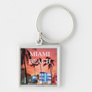 Miami Beach, Florida Silver-Colored Square Keychain