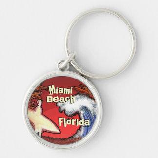 Miami Beach Florida surfer waves art keychain