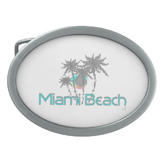 Miami Beach, Florida, Turquoise, Cool Oval Belt Buckle