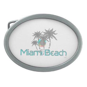 Beach Themed Miami Beach, Florida, Turquoise, Cool Oval Belt Buckle