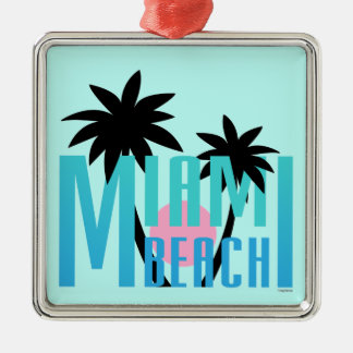 Miami-Beach-Florida-Typography Metal Ornament