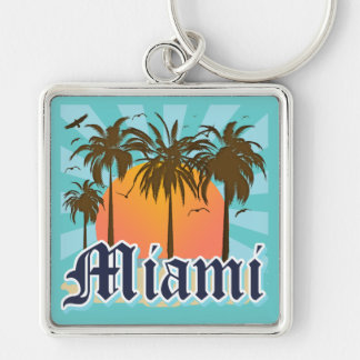 Miami Beach la Florida FLA Llavero Cuadrado Plateado