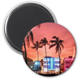 Miami Beach, la Florida Imán Redondo 5 Cm