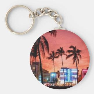 Miami Beach, la Florida Llavero Redondo Tipo Pin