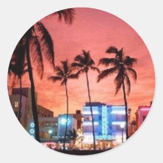 Miami Beach, la Florida Pegatinas Redondas