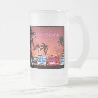 Miami Beach, la Florida Taza Cristal Mate