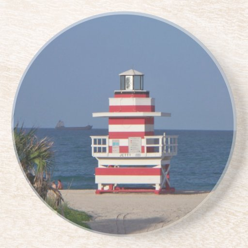 Miami Beach lifeguaed tower Drink Coaster