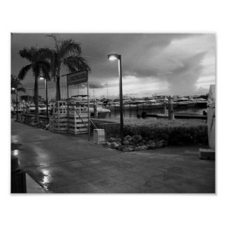 Miami Beach Marina Black And White Photo Poster