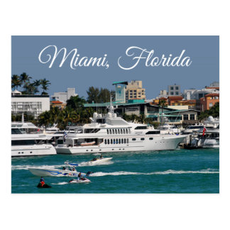 Miami Beach  Marina Florida Travel Postcard