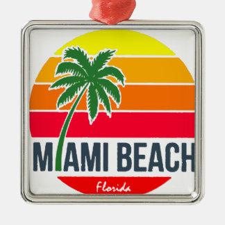 Miami Beach Metal Ornament
