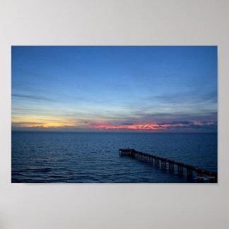 Miami Beach Ocean Sunrise Blue Ocean Landscape Poster