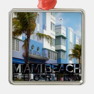 Miami Beach Square Metal Christmas Ornament