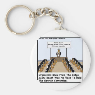 Miami Beach Ostrich Convention Funny Gifts & Tees Keychain