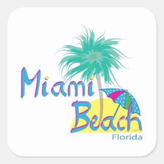 Miami Beach Palm and Sun Square Sticker