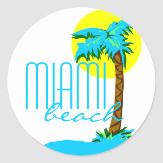 Miami Beach-Palm Tree Classic Round Sticker