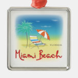Miami Beach Palms Square Metal Christmas Ornament