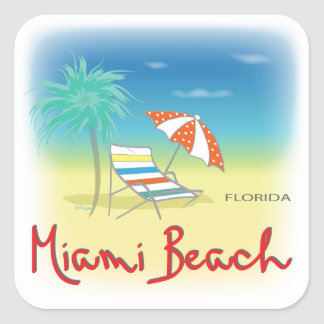 Miami Beach Palms Square Sticker
