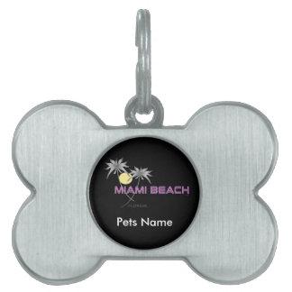 Miami Beach Pink Grey Pet ID Tag
