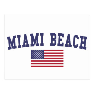 Miami Beach US Flag Postcard