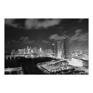 Miami by Night in Black and White Poster