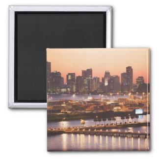 Miami Cityscape 2 Inch Square Magnet