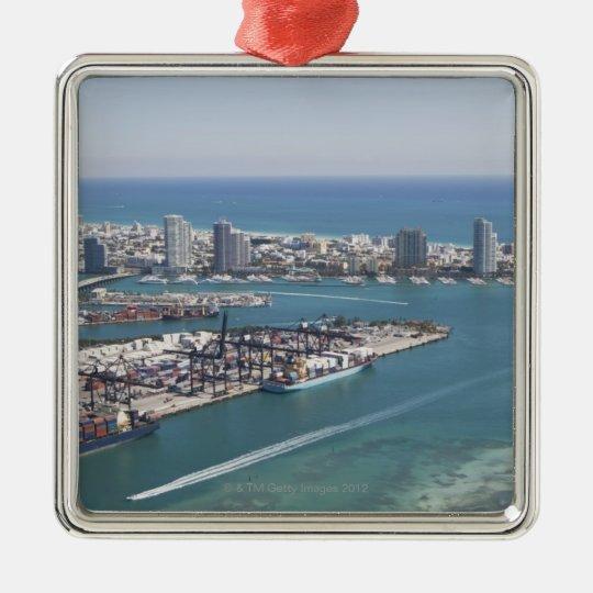 Miami Cityscape 2 Metal Ornament