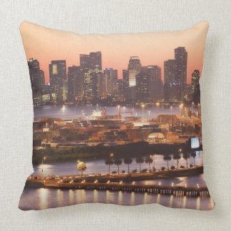 Miami Cityscape Throw Pillows