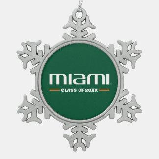 Miami Class Year Snowflake Pewter Christmas Ornament