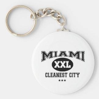 Miami, Cleanest City Basic Round Button Keychain