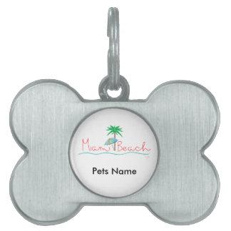 Miami con la palma y el paraguas placas de mascota