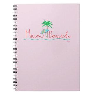Miami con la palma y el paraguas spiral notebooks