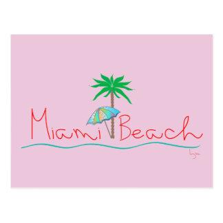 Miami con la palma y el paraguas tarjetas postales