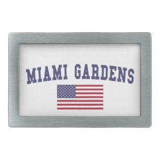 Miami cultiva un huerto bandera de los E.E.U.U. Hebillas De Cinturón Rectangulares