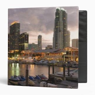 Miami financial skyline at dusk 3 ring binder
