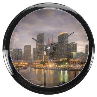 Miami financial skyline at dusk aquavista clock