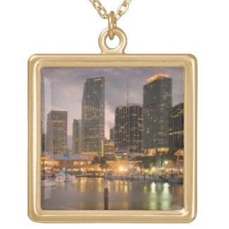 Miami financial skyline at dusk gold plated necklace