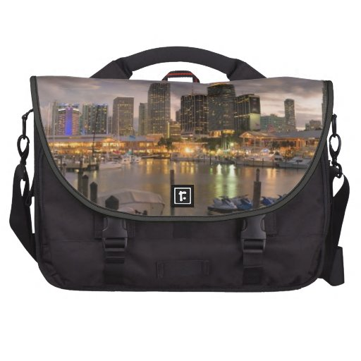 Miami financial skyline at dusk commuter bags