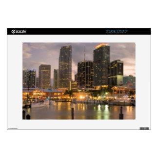 Miami financial skyline at dusk laptop decals