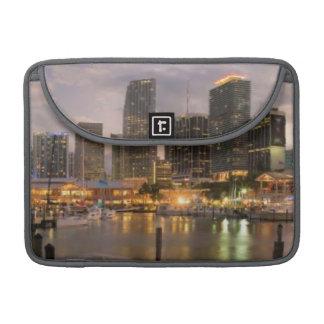 Miami financial skyline at dusk MacBook pro sleeve
