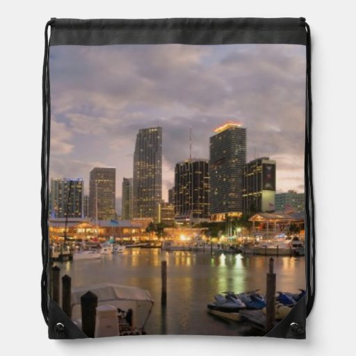 Miami financial skyline at dusk drawstring backpack